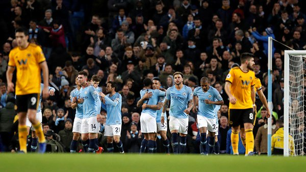 ... Jesus scored twice as Manchester City moved back within four points of  Premier League leaders Liverpool with a comfortable 3-0 win over 10-man  Wolves. 66bb973f7